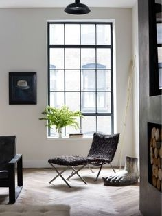 Jenny Wolf Interiors - Interior Design - New York - Eclectic - Contemporary - Gothic - Baroque - Industrial - Modern - Transitional - Living Room - Vignette - Monochromatic - Tiled Floor - Wood - White - Black - Windows - Wicker - Lounge