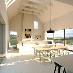 New Family house overlooking the sea. Planning received May 2015 Modern Bungalow House, Rural House, Bungalow House Plans, Bungalow Designs, Morden House, House Designs Ireland, Open Plan Kitchen Dining, Big Kitchen, Design Kitchen