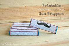 Printable Valentine's Day Gum Wrappers thecraftedsparrow.com
