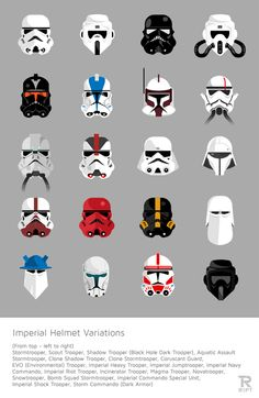 Fan created art featuring all 20 Imperial trooper helmet designs from the Star Wars universe. Theme Star Wars, Star Wars Art, Star Trek, Casque Clone Trooper, Clone Trooper Helmet, Star Wars Helmet, Stargate, Cosplay Star Wars, Love Stars