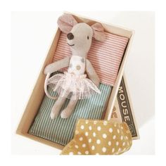Maileg mouse in box with tulle skirt on Rose & Milk - so cute!