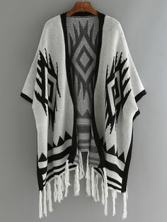 Geometric Print Fringes Grey Cardigan Cocoon Cardigan, Cardigan Sweaters, Grey Cardigan, Ladies Poncho, Bat Sleeve, Fringes, Tassel, Gray Color, Kimono Top
