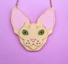 Laser cut prespex acrylic Sphynx cat face necklace