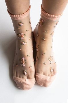 Women New Hezwagarcia HOT High Quality Adorable Blush Pink Floral Sheer Ankle Socks Hosiery from Hezwagarcia