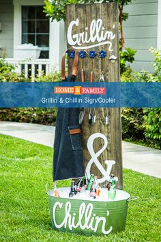 Grillin & Chillin Sign/Cooler -  DIY your way to an awesome backyard BBQ this summer with @paigehemmis's sign/cooler combo! Tune in to Home and Family weekdays at 10/9c on Hallmark Channel!