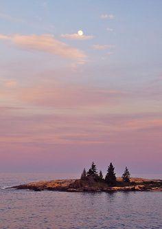 Moonrise on the coast of Maine