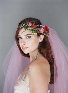 Pink Blush Veil Bridal Veil Tulle Wedding Veil by VeiledBeauty