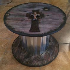 Small patio table. Made from cable reel