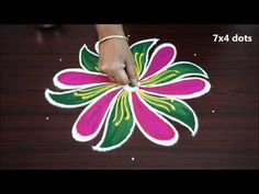 Design Discover Simple nd easy muggulu with 7 x 4 dots small designs new rangoli kolam art designs Rangoli Designs Flower, Small Rangoli Design, Rangoli Designs Diwali, Rangoli Designs Images, Art Designs, Padi Kolam, Simple Rangoli, Woman Drawing, Mandala Art