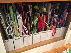 Gift bag storage using IKEA magazine holders. - Ikea DIY - The best IKEA hacks all in one place Ikea Organisation, Organization Station, Office Organization, Gift Bag Organization, Organizing Gift Bags, Organization Ideas, Organizing Tips, Medicine Cabinet Organization, Freezer Organization