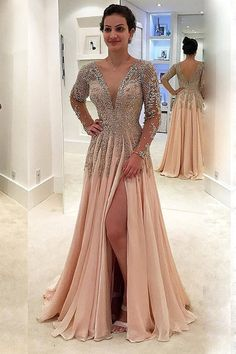 Prom Dress Beautiful, 2019 V Neck Long Sleeves Prom Dresses A Line Chiffon With Beads And Slit, Discover your dream prom dress. Our collection features affordable prom dresses, chiffon prom gowns, sexy formal gowns and more. Find your 2020 prom dress Split Prom Dresses, Prom Dresses Long With Sleeves, Backless Prom Dresses, A Line Prom Dresses, Junior Bridesmaid Dresses, Evening Dresses, Party Dresses, Wedding Dresses, Beaded Dresses