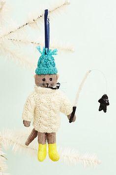 NEW Anthropologie Wilbury Animal Ornament Fishing Otter Christmas Ornament NWT Fish Ornaments, Holiday Ornaments, Christmas Decorations, Holiday Decor, Handmade Christmas, Christmas Fun, Christmas Projects, Cute Snowman, Felt Toys