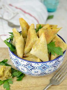 Triángulos crujientes de verduras y patata