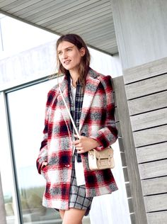 madewell depot cocoon coat worn with the shirttail mini skirt in grid check, button-down tunic shirt with pockets + the cambridge satchel company® tiny satchel bag. #totewell