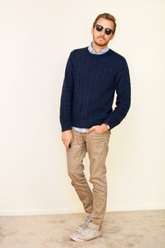Casual men's style, khaki jeans, Oxford under sweater and converse!