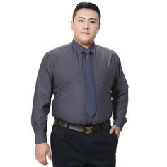 Domple Men Big and Tall Casual Business Plus Size Long Sleeve Solid Color Dress Shirt