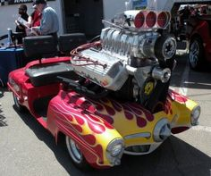 Motor is bigger than the car ! Weird Cars, Cool Cars, Golf Cart Bodies, Custom Golf Carts, Kids Ride On, Pedal Cars, Unique Cars, Drag Cars, Amazing Cars