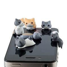 New Wayzon 6pcs Cute Cheese Cat 3.5mm Anti Dust Earphone ...