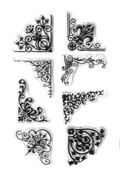 Forever in Time Clear Cling Rubber Stamp Floral Swirl Border Corners Set Flourish Border, Hampton Art, Wedding Invitation Envelopes, Floral Border, Vintage Holiday, Clear Stamps, Sewing Crafts, Whimsical, Card Making