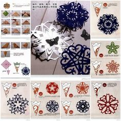 How to make Snowflakes Paper Cutting step by step DIY tutorial instructions, How to, how to do, diy instructions, crafts, do it yourself, diy website, art project ideas