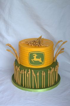 John Deere birthday cake with sugar wheat stalks ...... I know some people who would love this