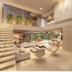 Grand home design smart ideas along with your house will likely forever shine by using a infrequent and legitimate trendy. Home Design, Modern House Design, Interior Design Living Room, Living Room Decor, Design Interiors, Model Homes, Luxury Homes, New Homes, Home Decor