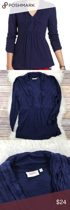 """Anthropologie Deletta Puckered Placket Pullover Excellent condition Deletta Puckered Placket Pullover from Anthropologie. Size Large. Navy blue. 100% burnout cotton. Bust 38"""", length 26"""", sleeve length 22"""". No trades, offers welcome. Anthropologie Tops Tees - Long Sleeve"""
