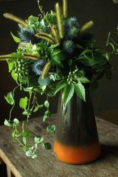 Striking green flower arrangement.