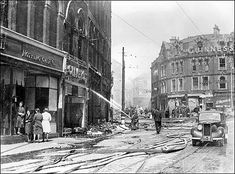 The aftermath of a raid in Plymouth, The Blitz