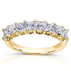 Annello by Kobelli 14k Gold 1 1/2ct TDW Princess Diamond Wedding Band (H-I, I1-I2) (Yellow - Size 6.5), Women's