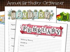 annual birthday organizer printables - put in a binder or big envelope with cards so they are all in one place?