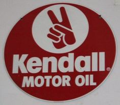 "KENDALL MOTOR OIL SIGN    Painted tin; Dia.-23 1/2"", EX"