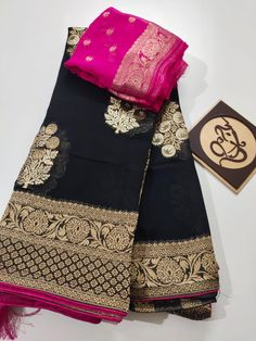 These sarees designed with pure banaras weaving khadi georget sarees with contrast blouse. Pure Georgette Sarees, Mysore Silk Saree, Banarsi Saree, Indian Silk Sarees, Soft Silk Sarees, Cotton Saree, Indigo Saree, Blue Silk Saree, Black Saree