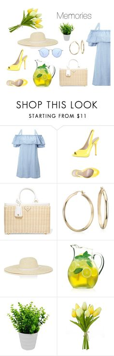 """Blue&Yellow: Memories"" by yosifova ❤ liked on Polyvore featuring Miss Selfridge, Jean-Michel Cazabat, Prada, Blue Nile, Barneys New York, Luigi Bormioli, Pavilion Broadway, Ray-Ban, Summer and Spring"