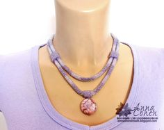 Purple strands and jasper necklace FREE SHIPPING by AnnaCohen