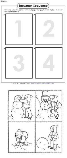 Feb use these seasonal worksheets in your classroom! We have winter math activities, snowflake cut-outs, winter reading comprehension passages, a snowy diorama scene, and more! Sequencing Worksheets, Story Sequencing, Comprehension Worksheets, Sequencing Pictures, Sequencing Cards, Reading Worksheets, Classroom Activities, In Kindergarten, Preschool Activities