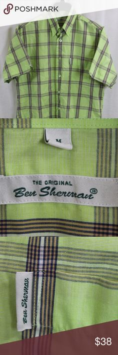 """BEN SHERMAN GREEN BUTTON-FRONT SHIRT MED SIZE:     MEDIUM  CHEST:     22""""  LENGTH:     31""""  STYLE:BUTTON-FRONT  MATERIAL:     COTTON  CONDITION:        BRAND NEW WITHOUT TAGS. SOURCED DIRECTLY FROM A NATIONAL UPSCALE U.S. RETAILER. QUALITY AND AUTHENTICITY GUARANTEED!       68-20-G Ben Sherman Shirts Casual Button Down Shirts"""