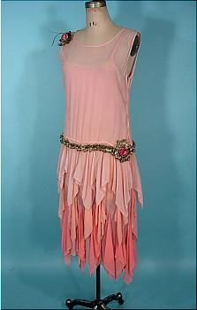 1920's tri color pink silk chiffon flapper dress from antiquedress.com