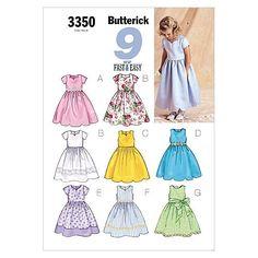 dise/ño de Mariposas Tallas 6 a 8 Butterick Vestido para ni/ña