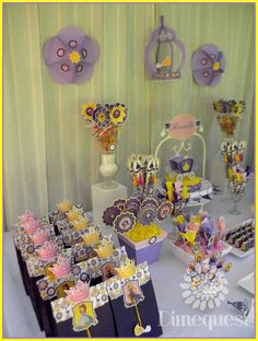 Favor bags at a Sofia and Rapunzel birthday party! See more party planning ideas at CatchMyParty.com!