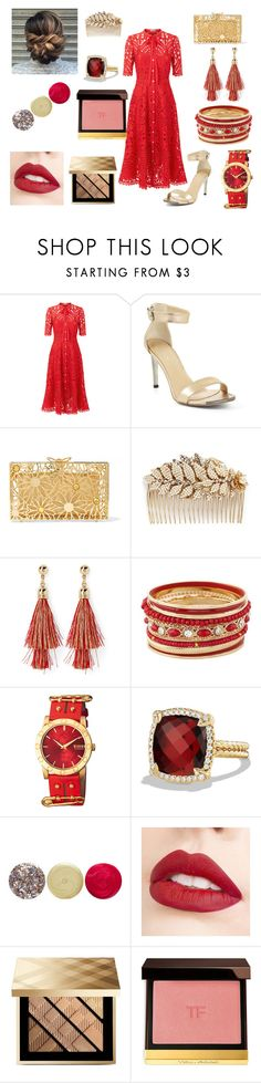 """""""lady in red"""" by sarashic-7 ❤ liked on Polyvore featuring Temperley London, BCBGMAXAZRIA, Charlotte Olympia, Miriam Haskell, Simons, David Yurman, JINsoon, Jouer, Burberry and Tom Ford"""