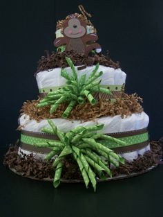 Monkey 3 tier diaper Cake baby shower by Beyonddiapercakes, $49.99