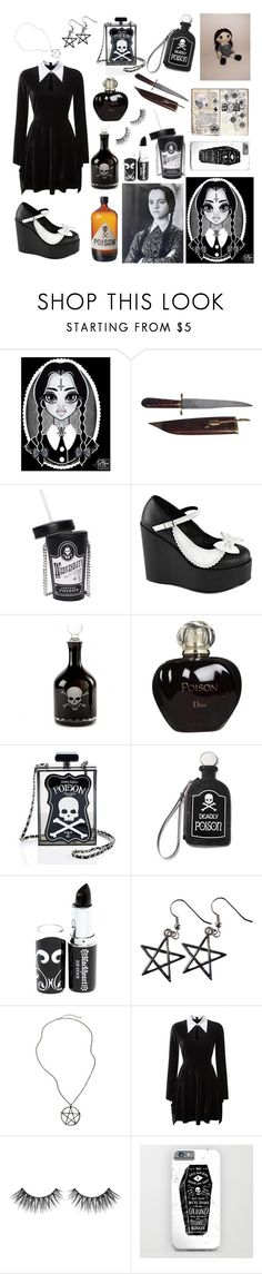 """""""Poison In My Blood"""" by karmicakarmen ❤ liked on Polyvore featuring Current Mood, Demonia, Kindwer, Christian Dior, Blackheart, Hot Topic and Killstar"""