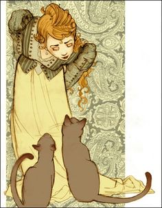 Art Nouveau woman and cats (artwork by Julia Denos) Art Et Illustration, Illustrations, Crazy Cat Lady, Crazy Cats, She And Her Cat, You Draw, Cats And Kittens, Ragdoll Kittens, Funny Kittens