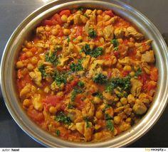 Kureci ragu s cizrnou recept - TopRecepty. Chana Masala, Chicken Recipes, Beans, Food And Drink, Vegetables, Cooking, Ethnic Recipes, Fitness, Diet