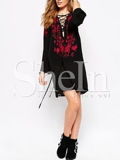 Black Long Sleeve Lace Up Embroidered Dress 18.99