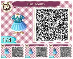 Animal crossing new leaf blue adorbs dress qr code