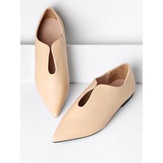 Pointed Toe PU Flats ($36) ❤ liked on Polyvore featuring shoes, flats, pointy toe flats, pu shoes, pointed-toe flats, flat pump shoes and pointy toe shoes