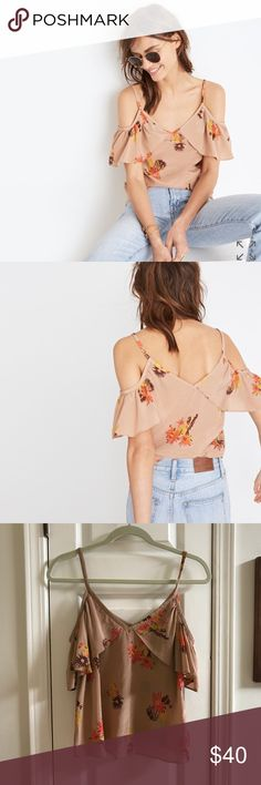 Madewell Cold Shoulder Floral Silk Top Size S 🍁🍂 A pretty ruffled take on a cold-shoulder top in a vibrant cactus flower print inspired by a vintage find. Absolutely perfect for Fall! I'm in love! 100% Silk. Size Small. Like new condition. Madewell Tops