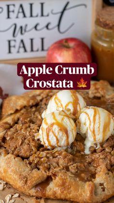 Apple Desserts, Dessert Recipes, Oat Crumble Topping, Apple Crumb, Apple Filling, Pudding Cake, Fall Recipes, Tarts, Apples